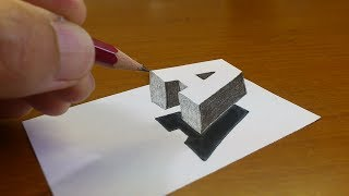 Download Very Easy!! How To Drawing 3D Floating Letter ″A″ #2 - Anamorphic Illusion - 3D Trick Art on paper Video