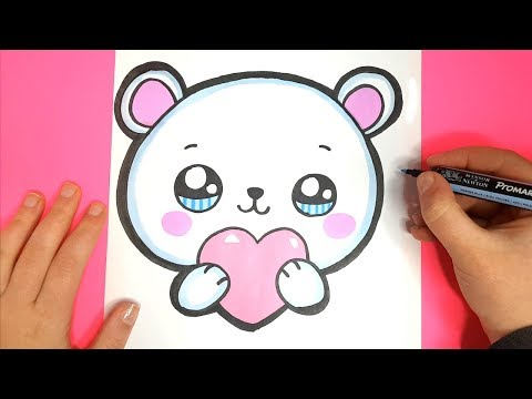 How to Draw a Cute Polar Bear EMOJI with a LOVE Heart - Valentine's DAY