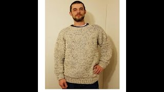 Download CROCHET How To #Crochet Simple Mens Pullover Sweater Size L, XL, 2XL TUTORIAL #359 supersaver DYI Video