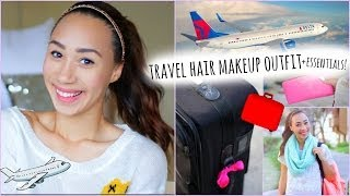 Download Airplane/Travel Hair Makeup Outfit + What to Pack In Your Carry On! Video