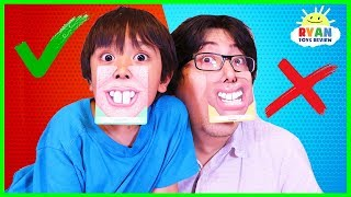 Download Ryan plays Who's Nose Guess Your Face Board Game for kids! Video