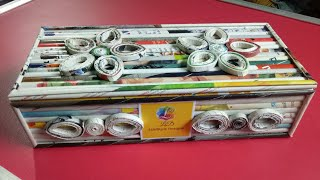 Download How To Make A Jewellery Gift Box/Cosmetic Organizer with Magazine newspaper (Newspaper Crafts) Video