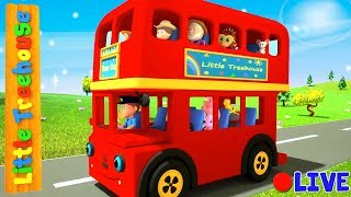 Download Wheels On The Vehicles | Bus Cartoons for Kids by Little Treehouse - Live Stream Video