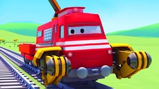 Download Troy the Train is the Crane Truck in Train Town of Car City | Trains & Trucks cartoons for kids Video
