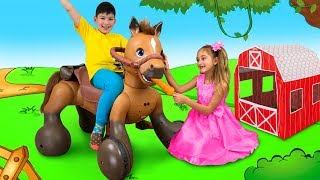 Download Sasha Play with Ride On Horse Toy and Goes to the Camping Video