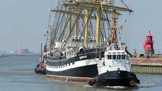 Download Viermaster tallship KRUZENSHTERN BJ 1926 inbound Emden 2 tugs assist UCVK IMO 6822979 Video