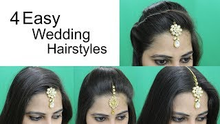 Download 4 Easy Hairstyles for Wedding | Hairstyle with Maang Tikka for Medium or Long Hair Video