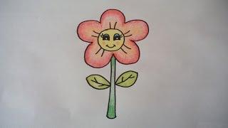 Download ดอกไม้น่ารัก สอนวาดรูปการ์ตูนง่ายๆ สอนวาดรูปการ์ตูนระบายสี How To Draw A Cartoon Flower Step by Step Video