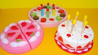 Download Toy cutting velcro cakes birthday cake wooden plastic toys for kids toy strawberry cream cake asmr Video