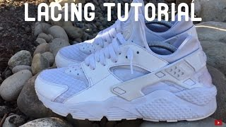 Download HOW TO LACE Nike Air Huarache ″Triple White/Pure Platinum″ Video