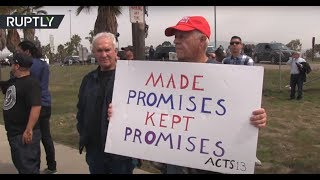 Download Supporters & protesters of wall gather upon Trump's prototypes inspection in San Diego Video