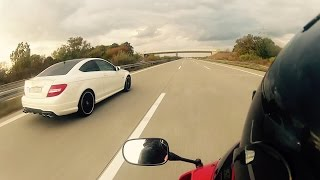Download C 63 AMG Coupe vs CBR 600 RR vs R6 - TOP SPEED [1080p] Video