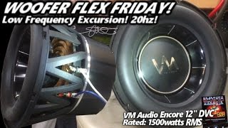 Download Woofer Flex Friday! VM Audio Encore 12″ - Low Frequency 20hz Excursion! 1500 Watts Video