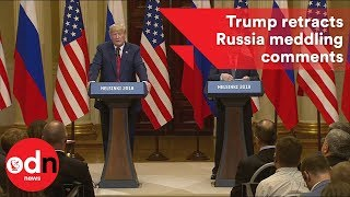 Download Donald Trump backtracks on Russia meddling comments Video
