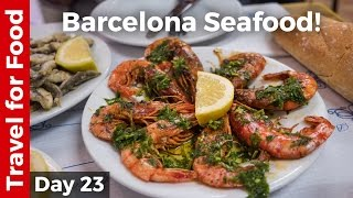Download Spain Food in Barcelona - Grilled Shrimp and Sardines + FC Barcelona Camp Nou Tour! Video