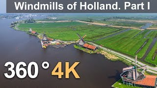 Download 360°, Holland. Windmills, Part I. 4К aerial video Video