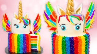 Download How to Make a Rainbow Unicorn Cake w/ Isomalt Wings Recipe Video