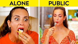 Download GIRLS IN PUBLIC VS GIRLS ALONE    How You Do Things Alone VS In Public! by 123 GO! Video