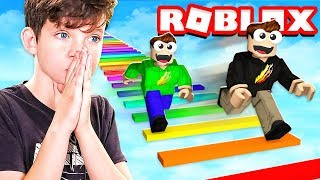 Download 1v1 RAINBOW OBBY RACE with MY LITTLE BROTHER! (Roblox) Video