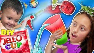 Download DIY JELLO CUPS!! Edible Glasses Kids Recipe! + Cherry Pit Launcher Gun! (FUNnel Vision Random Vlog) Video