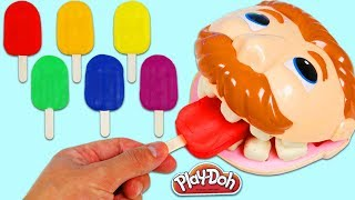 Download LEARN COLORS Feeding Mr. Play Doh Dentist Drill N Fill Rainbow Popsicles & Color Changing Teeth! Video