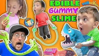 Download EDIBLE GUMMY SLIME JUMP ROPE w SHARK BOARD GAME FAMILY NIGHT FUNnel Vision Vlog Video