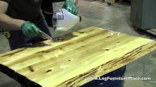 Download How Liquid Glass Finish is applied on Cabin Furniture at JHE's Log Furniture Place Video