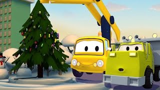 Download Construction Squad: the Dump Truck, the Crane and the Excavator build the Christmas Tree in Car City Video