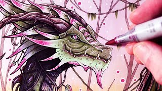 Download Let's Draw a JUNGLE DRAGON - FANTASY ART FRIDAY Video