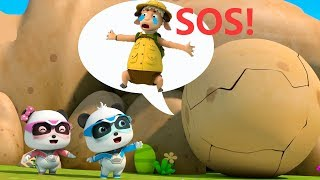 Download Super Panda's Chased by a Big Rock | Super Panda Rescue Team | Kids Song | BabyBus Cartoon Video
