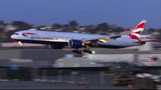 Download British Airways Boeing 777-300ER Twilight Landing San Diego Video