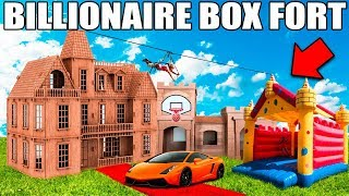 Download BIGGEST BILLIONAIRE BOX FORT CHALLENGE! 📦💰24 Hour: Basketball Court, Jumping Castle, Gaming Setup Video
