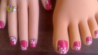 Download Toes & short fingernails Pink with easy white flowers Video