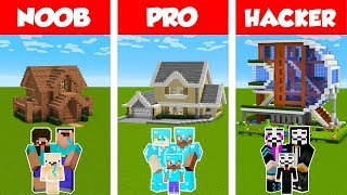 Download Minecraft NOOB vs PRO vs HACKER: FAMILY HOUSE BUILD CHALLENGE in Minecraft / Animation Video