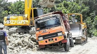 Download Dump Truck Stuck Recovery by Bulldozer And Excavator Video