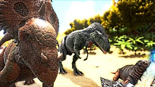 Download ARK Survival Evolved - PACHYRHINO VS TRIKE, MEGALOSAURUS SPECIAL, ACHATINA, MOSCHOPS - Gameplay Video