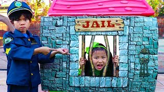Download Emma Pretend Play as Cop LOCKED UP Jannie in Jail Playhouse Toy for Kids Video