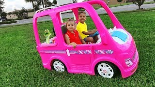 Download Diana and her Barbie car - Camping adventure Video
