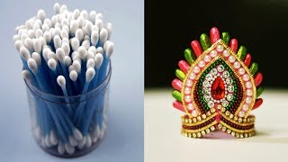 Download Cotton bud Mukut / Crown For ganesha | cotton bud | ganesha chaturthi | Art with Creativity Video