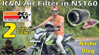Download 🔥K&N Air Filter Installation and Sound Compare in Bajaj Pulsar NS160 || Nashir Vlog Video