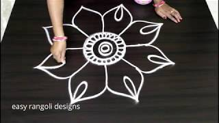 Download Creative flower kolam || simple n easy flower rangoli designs || Beautiful muggulu with out dots Video