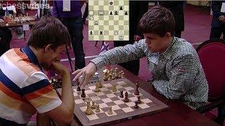Download AMAZING TRAP KNIGHT!!! MAGNUS CARLSEN VS SERGEY KARJAKIN || BLITZ CHESS 2012 Video