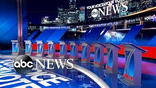 Download 10 Democratic candidates on debate stage for 1st time   ABC News Video