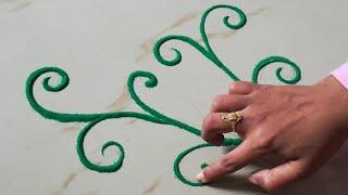 Download आसान रांगोळी बनाना सीखे - उंगली से रांगोळी बनाने की ट्रिक, New Finger Rangoli Design Trick Video