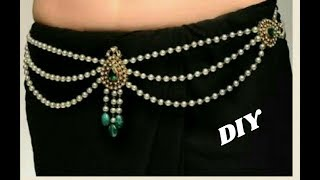 Download Pearl waist chain - Making with pearl beads | 2 in 1 long haram | jewellery tutorials Video