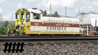 Download NSHR 446 SW1500 Switching Freight Cars at Lewistown Yard near Roundhouse RD RR Crossing in PA Video