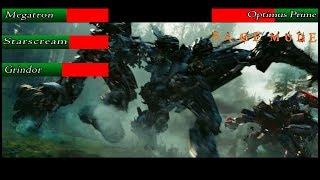 Download Optimus Prime vs Megatron, Starscream and Grindor with health bars (Transformers 2) Video