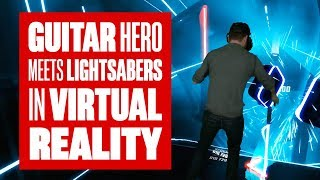 Download Chris plays Beat Saber - Guitar Hero + Lightsabers in VR! Video