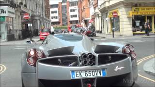 Download 1ST PAGANI HUAYRA IN LONDON!! Driving on the road! Looks insane. Video