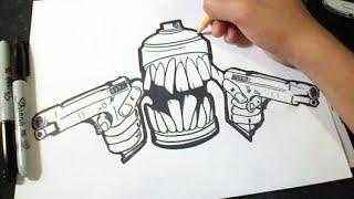 Download como desenhar spraycan com duas armas Grafite Video